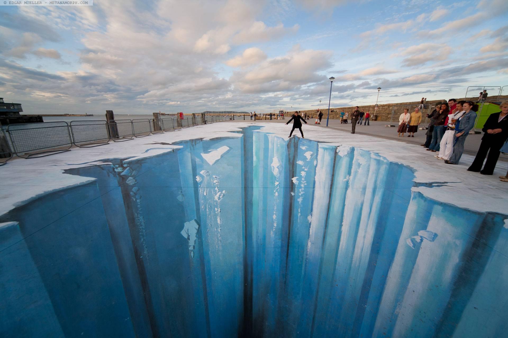The Crevasse   187      Edgar Mueller     Dun Laoghaire     IrelandeDepth Sidewalk Art